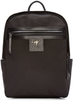 Giuseppe Zanotti Black Canvas & Leather Logo Backpack