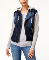 Tinseltown Juniors' Denim Hoodie Moto Jacket