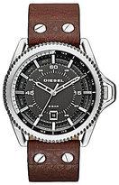 Diesel Rollcage Stainless Steel Brown Leather Strap 3 Hand Date Watch