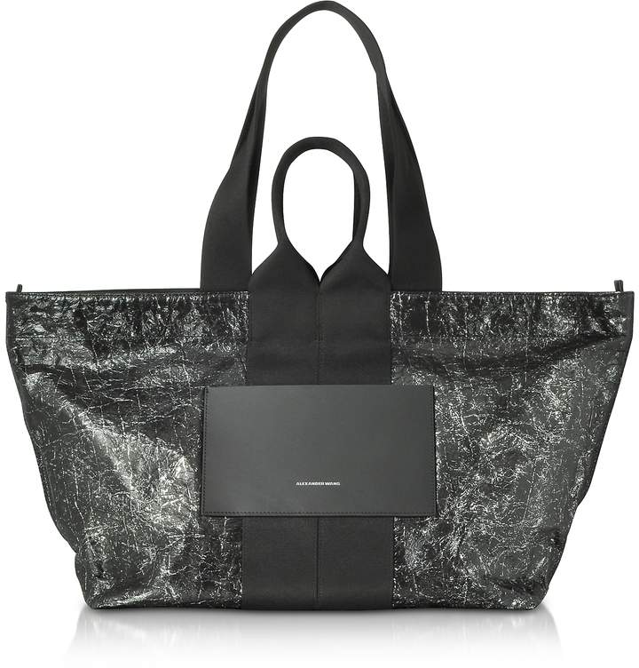 Alexander Wang Black Destroyed Leather AW Logo Large Tote Bag