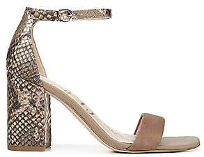 Sam Edelman Women's Daniella Ankle-Strap Snakeskin-Embossed Leather & Suede Sandals