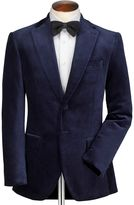 Charles Tyrwhitt Slim Fit Navy Velvet Cotton Blazer Size 38