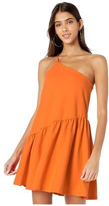 Susana Monaco One Shoulder Gather Flare Dress (Popsicle) Women's Dress