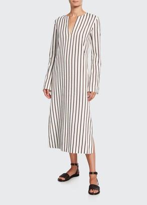 Loro Piana Striped Cotton Long-Sleeve Dress