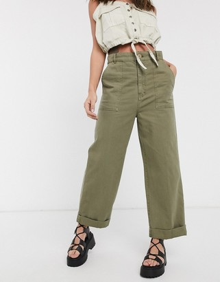 Free People sunday skies straight leg in green