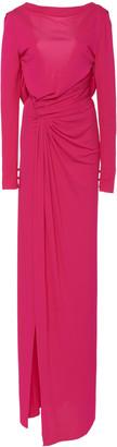 Prabal Gurung Draped Jersey Thigh-Slit Gown