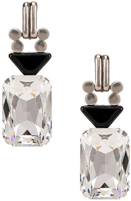 Saint Laurent Crystal Stone Clip Earrings in Silver & Black | FWRD