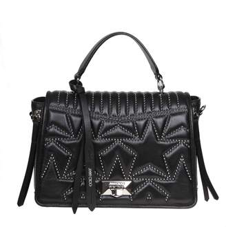 Jimmy Choo Helia Handle Leather Handle Bag In Black Leather