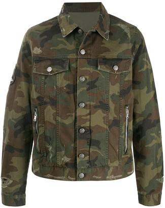 Balmain Camouflage Print Denim Jacket