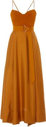 AMUR Tempest Belted Crepe-Paneled Silk Maxi Dress
