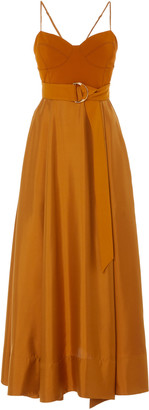 AMUR Tempest Belted Crepe-Paneled Silk Maxi Dress