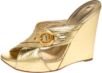Casadei Metallic Gold Leather Criss Cross Buckle Wedge Sandals Size 37