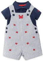 Little Me Boys' Polo Shirt & Embroidered Crab Overalls Set - Baby