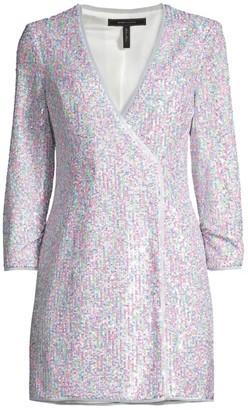 BCBGMAXAZRIA Short Sequined Evening Dress