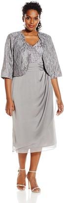 Le Bos Women's Plus-Size Scallop Lace Jacket and Surplus Dress
