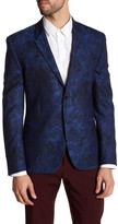 Versace Notch Lapel Two Button Print Wool Sportcoat