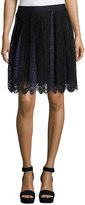 Max Studio Two-Tone Lace Skirt, Navy/Black
