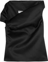 Balenciaga One-shoulder Satin Top - Black