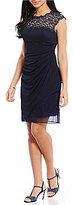Alex Evenings Petite Cap-Sleeve Lace Mesh Dress