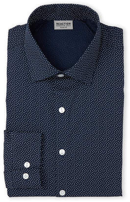 Kenneth Cole Reaction Night Blue Dotted Slim Fit Dress Shirt