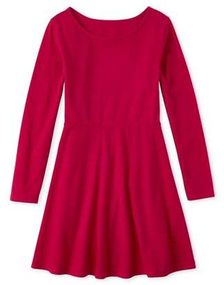 Children's Place The Girls 4-16 Heart Back Long Sleeve Pleated Dress