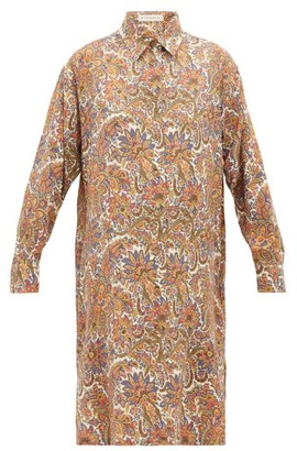 Etro Cactus Paisley-print Wool-blend Shirtdress - Womens - Brown Multi