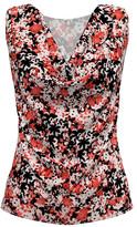 Bella Flore Women's Tunics BLACK - Black & Red Floral Sleeveless Cowl Neck Top - Women & Plus