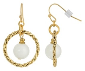 2028 Gold-Tone Semi Precious Round Stone in Hoop Earrings