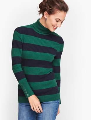 Talbots Button Cuff Ribbed Turtleneck Sweater - Stripe