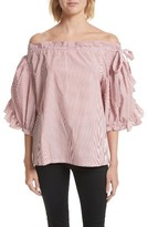 Robert Rodriguez Women's Stripe Ruffle Off The Shoulder Top
