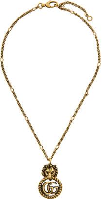 Gucci Gold Double G Lion Head Necklace