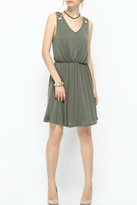 Naked Zebra Olive Latice-Trim Dress