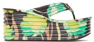 Fendi Promenade Quilted Floral-print Platform Sandals - Black Multi