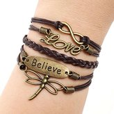 Bestpriceam Love Dragonfly Multilayer Knit Leather Rope Chain Charm Bracelet DIY Gift (Brown)