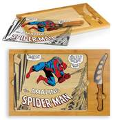 Picnic Time Marvel Spider-Man Icon Glass Top Wood Serving Tray with Knife Set