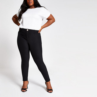 River Island Plus black Molly mid rise trousers