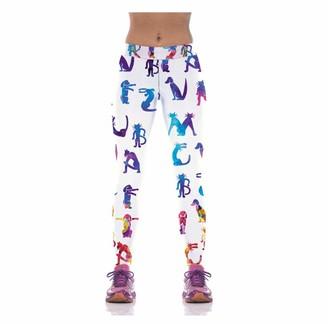 Wuxeghk Girl Women Animal Dog Cat 3D Prints High Waist Running Fitness Sport Leggings Jogger Yoga Pants Size:S