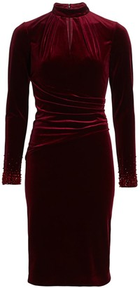 Teri Jon By Rickie Freeman Long-Sleeve Velvet Keyhole Embellished-Cuff Sheath Dress