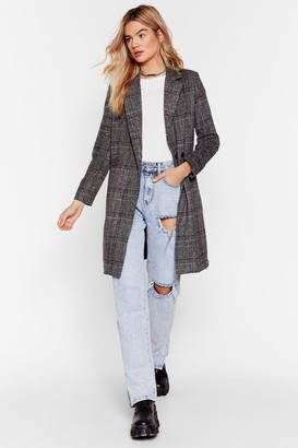 Nasty Gal Womens A Longline Those Lines Check Jacket - Grey - 8
