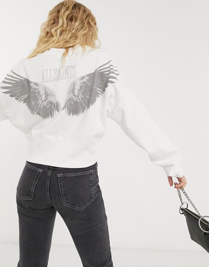 AllSaints wingan enrico sweatshirt in white