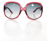Christian Dior Red Plastic Translucent Gray Gradient Lens Large Round Sunglasses In Case