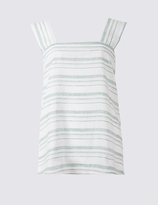 Limited Edition Linen Rich Striped Square Neck Vest Top