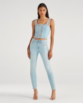 High Waist Ankle Skinny with Rainbow Fringe in Sky High Blue