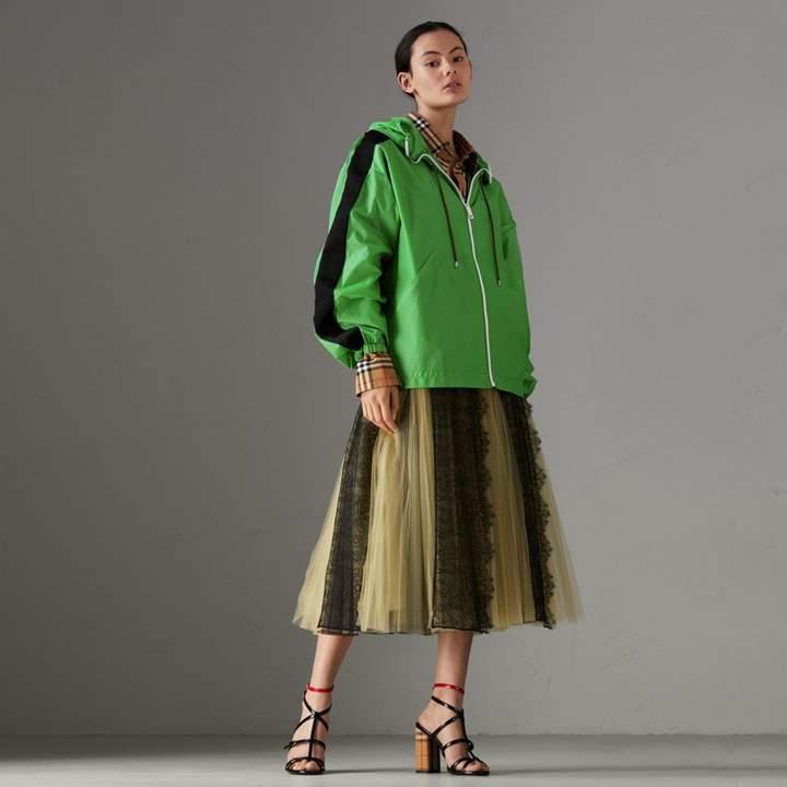 Burberry Stripe Detail Showerproof Hooded Jacket , Size: XS, Green