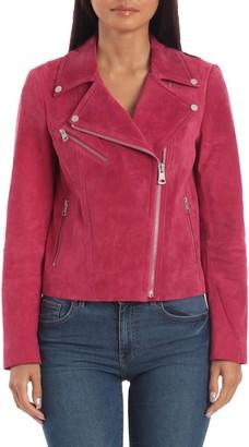 Bagatelle Women's Sport Genuine Suede Moto Jacket