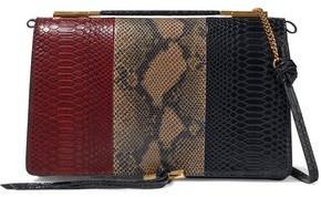 Stella McCartney Flo Medium Color-block Faux Snake-effect Leather Shoulder Bag