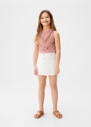 MANGO Fringed detail knit top coral red - 8-9 years - Kids