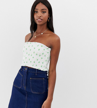 Asos Tall DESIGN Tall shirred bandeau in palm print