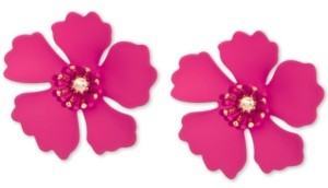 Zenzii Gold-Tone & Suede-Painted-Finish Petunia Stud Earrings