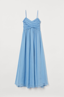 H&M Draped Long Dress - Blue